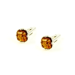 Amber Cuff Links - Rectangle Honey Stone