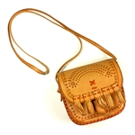 "Darling little hand-crafted leather purse (pouch), with 19"" fixed-length shoulder strap, from Zakopane Poland."