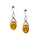 Calladagh Silver Amber Earrings
