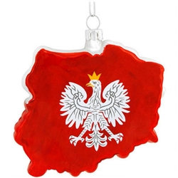 "Polish-off your ornament collection by adding this magnificent keepsake! Our blown-glass Poland ornament cleverly captures the shape and flag of that grand land in shimmering colors. Measuring 3¼"" tall, this meticulously crafted ornament displays the flag"