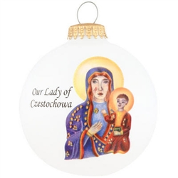"Our Lady of Czestochowa round glass ornament is sure to pierce your heart with reverence for the Holiness of our great Lord! Artfully crafted from glass in the USA, our exclusive 3¼"" tall round white ornament displays beautiful artwork depicting the relig"