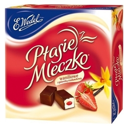 Bird's milk candy has a vanilla flavor marshmallow like filling with a strawberry jelly center and is covered with a thin layer of dark chocolate.  The Wedel Brand A synonym of exquisite taste and top-grade chocolate products Wedel is Poland's oldest choc