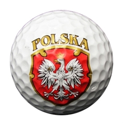 "Features the emblem of Poland - The Polish Eagle on a red shield below the word ""Polska""."