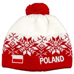 Display your Polish heritage! White and red stretch ribbed-knit winter cap with the word Poland next to the Polish flag. Easy care acrylic fabric. Once size fits most. Made In Poland.