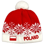 Display your Polish heritage!  Red and white stretch ribbed-knit winter cap with the word Poland next to the Polish flag. Easy care acrylic fabric.  Once size fits most. Made In Poland.