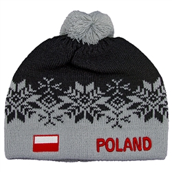 Display your Polish heritage! Grey stretch ribbed-knit winter cap with the word Poland next to the Polish flag. Easy care acrylic fabric. Once size fits most. Made In Poland.