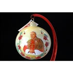 Created to commemorate the Sainthood of John Paul II on April 27, 2014. Beautiful hand blown and decorated glass ornament.