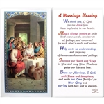A Marriage Blessing - Holy Card.  Plastic Coated. Picture is on the front, text is on the back of the card.