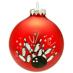 "Right up your alley! No expense has been spared in creating our bowling ball with pins ornament. Made from glass in Hungary, this 3"" tall ornament features a striking bowling ball, a 10-pin design, and glittering silver accents artfully printed along a sa"