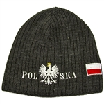 Display your Polish heritage! Stretch fine knit skull cap with the word Polska (Poland) divided by an embroidered Polish Eagle. Easy care acrylic fabric. Once size fits most. Imported from Poland. Available in charcoal only.