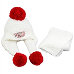 Warm Polish winter bonnet and scarf set. . Easy care acrylic knit fabric. Polyester lining. One size fits most . Made in Poland.