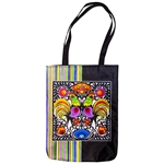 Heavy duty tote bag in 100% polyester which features a beautiful Wyncinanki (Polish paper cut-outs) floral design.