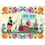 This beautiful note card features a folk couple preparing to sell their produce at their roadside stand. The scene is framed in a bright floral background. The mailing envelope features flowers in both the foreground and background. Spectacular!