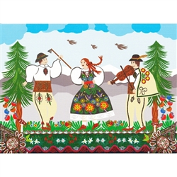 This beautiful note card features a Goral couple dancing.  The mailing envelope features flowers in both the foreground and background. Spectacular!