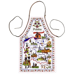 Attractive apron featuring a map of Poland highlighting Poland's best known cities, attractions and folklore. The word Polska (Poland) is at the top above the Polishflag and a border of floral paper-cuts surrounds the entire picture.