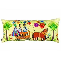 Beautiful stuffed folk design pillow. The bride and groom in traditional folk costume are pictured in their wedding carriage. 100% polyester and made in Poland. Back side of the pillow is solid black. Zipper on one side for convenient cleaning. Size 25 x
