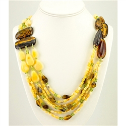 Bozena Przytocka is a designer of artistic amber jewelry based in Gdansk, Poland.   Here is a beautiful example of her ability to blend multiple shades of amber and peridot to create a stunning necklace.