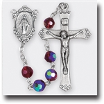 "20.5"" Premium Hand Crafted 7mm Tin Cut Crystal Bead Rosary with a deluxe Crucifix and Center