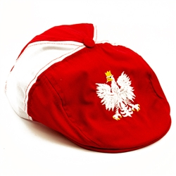 Display the Polish colors of red and white with this nicely detailed embroidery work on the front of the cap. Features a white Polish Eagle with gold crown and talons. Features an adjustable metal tab in the back. Designed to fit most people.