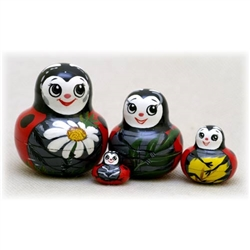 This little nesting doll is cute as a bug--a Lady Bug to be exact. She comes as 4 little nesting lady bugs full of good luck and bright cheer. This good luck gift is perfect for a whimsical moment, and will be treasured by the Lady Bug collector or anyone
