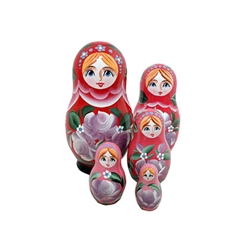 Each doll in the set has a gradient shade of the outer doll's color. The inner dolls have lighter and lighter shades as you open the doll up, adding to the fun of the nesting doll concept.  Fully hand painted.