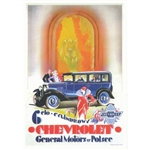 "Chevrolet, 1929 Polish Advertising Poster.  It has now been turned into a post card size 4.75"" x 6.75"" - 12cm x 17cm."