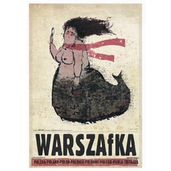 "Warszafka, Polish Promotion Poster designed by artist Ryszard Kaja. It has now been turned into a post card size 4.75"" x 6.75"" - 12cm x 17cm."