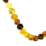 Lovely necklace composed of cherry, custard, light and dark honey Amber. Bead size approx. 10mm and smaller.  Gold colored cord with knot between each bead. Amber screw closure.