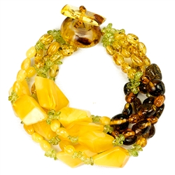 Bozena Przytocka is a designer of artistic amber jewelry based in Gdansk, Poland. Here is a beautiful example of her ability to blend a variety of amber shapes and peridot create a stunning 5 strand bracelet.