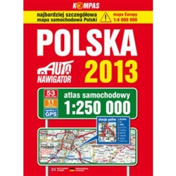 Clear and updated 2013 edition Poland Atlas at a scale of 1:250 000.  Packed with useful information.