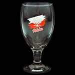 "Large clear Pilsner style glass decorated with a white Polish eagle superimposed on the colors of the Polish flag. The reverse side features the words ""Na Zdrowie"" - To Your Health. 7.5"" - 19cm ta"