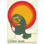 "Post Card: Czarny Wiatr, Black Wind, Polish Poster by Andrzej Krajewski in 1970. It has now been turned into a post card size 4.75"" x 6.75"" - 12cm x 17cm."