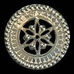 This Highlander pin is normally worn in the center of the man's shirt. Hand worked from metal with intricate detailing by one master artisan in Bukowina near Zakopane. The workmanship is exquisite and the detail so rich these decorations have become colle