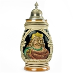 Impressive Polish ceramic stein featuring the image of King Boleslaw Chrobry.