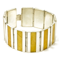 Simply gorgeous sterling silver bracelet with inlaid custard amber