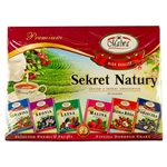 Deluxe assortment of 30 tea bags: 6 different natural teas: Forest fruit, raspberry, chokeberry, cranberry, rosehip and black currant.