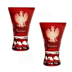 Genuine Polish 24% lead crystal hand cut and engraved with the Polish Eagle and the word Polska.  Set of 2.