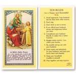 Rules for a Happy and Successful Wife- Holy Card.  Plastic Coated. Picture and prayer is on the front, text is on the back of the card.