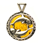 Hand made Cognac Amber Pisces pendant with Sterling Silver detail.  February 19 - March 20