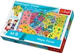 Map of Poland is a puzzle that draws the attention of both children and their parents. Presented in a friendly manner, the puzzle combines fun with learning to stimulate the imagination. The puzzle is specifically tailored to the learning capabilities of