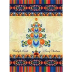A beautiful glossy Christmas card featuring a Lowicz wycinanki design Christmas tree Cover greeting in Polish and English Greeting.