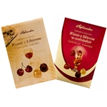 Cherries with liqueur in dark chocolate in a presentation box. Contains alcohol so these are not for children.
