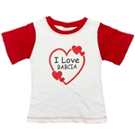 Cute light weight children's T-shirts from Poland.  I Love Babcia (Grandma) 100% cotton.  Sizes in Poland run very small so we