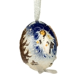 This beautifully designed chicken egg is hand painted and decorated.  The figures are made from dried salt that is applied to the egg,  