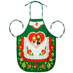 Colorful aprons featuring a pair of Krakow dancers surrounded by a Lowicz folk design. Large center pocket.  Selection of 6 different colors. 100% cotton.