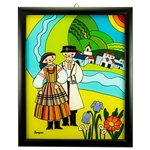 Painting on glass is a popular Polish form of folk art by which the artist paints a picture on the reverse side of a glass surface. This beautiful painting of a couple dressed in Opoczno costumes is the work of artist Ewa Skrzypiec from the town of Nowy