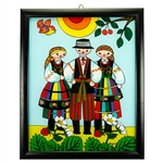 Painting on glass is a popular Polish form of folk art by which the artist paints a picture on the reverse side of a glass surface. This beautiful painting of this trio dressed in costumes from the Lowicz region is the work of artist Ewa Skrzypiec