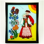 Painting on glass is a popular Polish form of folk art by which the artist paints a picture on the reverse side of a glass surface. This beautiful painting of a courting couiple  dressed in Nowy Sacz costumes is the work of artist Ewa Skrzypiec from the