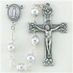 "Polish Art Center - 17"" 4mm Highest Quality Capped Imitation White Pearl Bead Handcrafted Rosary with Deluxe Crucifix and Center.  This is the perfect size for First Holy Communion!"