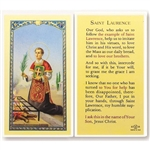 St. Laurence - Holy Card.  Holy Card Plastic Coated. Picture is on the front, text is on the back of the card.